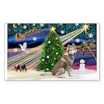 Xmas Magic & Red Husky Sticker (Rectangle)