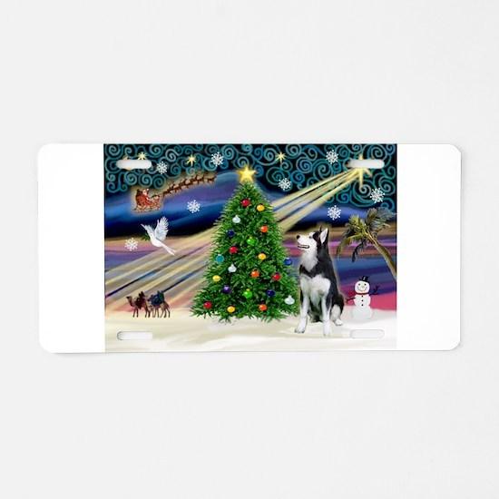 XmasMagic/Siberian Husky Aluminum License Plate