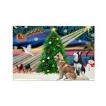 Xmas Magic & S Husky Rectangle Magnet (10 pack)