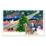 Xmas Magic & S Husky Sticker (Rectangle)