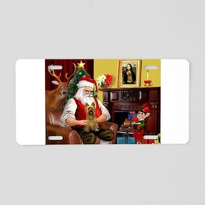 Santa's Silky Terrier Aluminum License Plate
