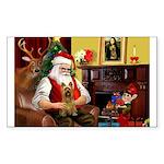 Santa's Silky Terrier Sticker (Rectangle)
