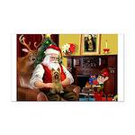 Santa's Silky Terrier Rectangle Car Magnet
