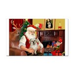 Santa/Tibetan Spaniel Rectangle Car Magnet