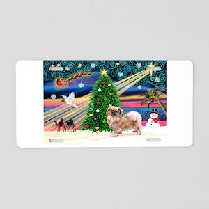 XmasMagic/Tibetan Spaniel Aluminum License Plate