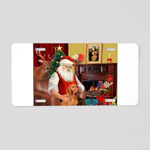Santa's Vizsla Aluminum License Plate