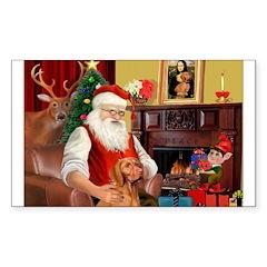 Santa's Vizsla Sticker (Rectangle)