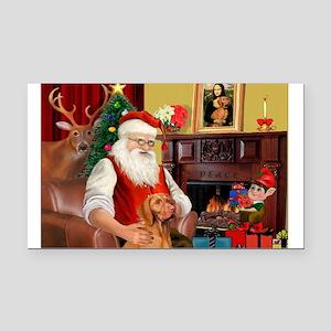 Santa's Vizsla Rectangle Car Magnet