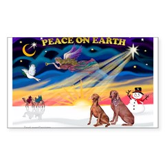XmasSunrise/2 Weimaraners Sticker (Rectangle)