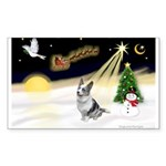 Night Flight/Corgi (BM) Sticker (Rectangle 50 pk)