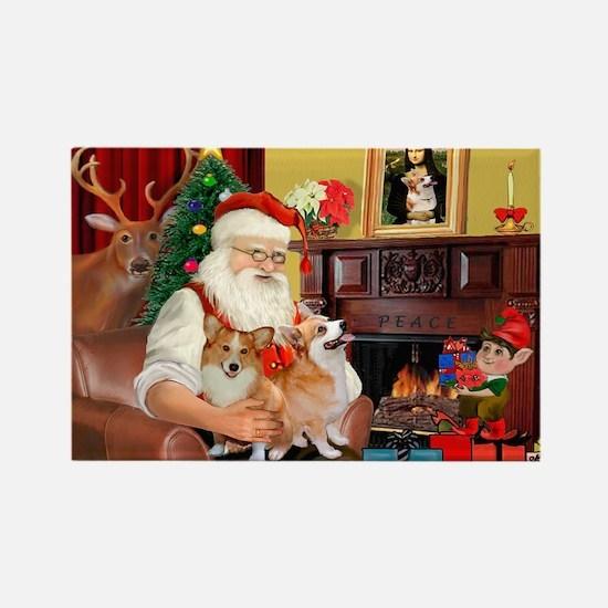 Santa's 2 Corgis (P2) Rectangle Magnet