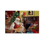 Santa / Welsh Corgi Rectangle Magnet (10 pack)