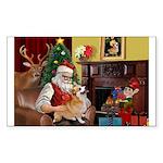 Santa / Welsh Corgi Sticker (Rectangle)