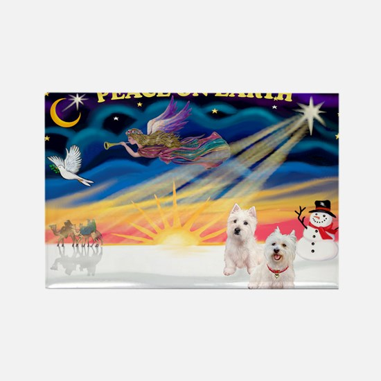 XmasSunrise/2 Westies Rectangle Magnet