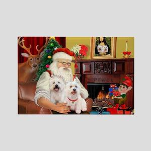 Santa's Westie pair Rectangle Magnet
