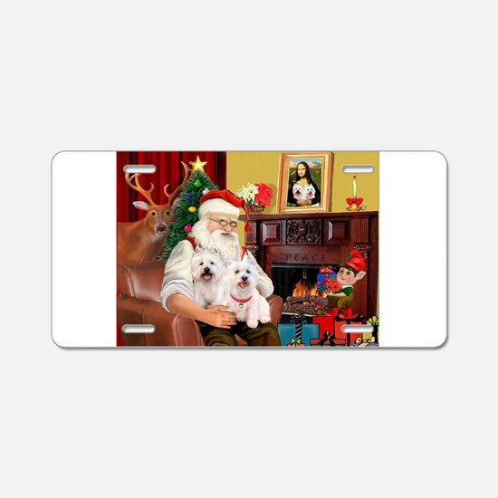 Santa's Westie pair Aluminum License Plate