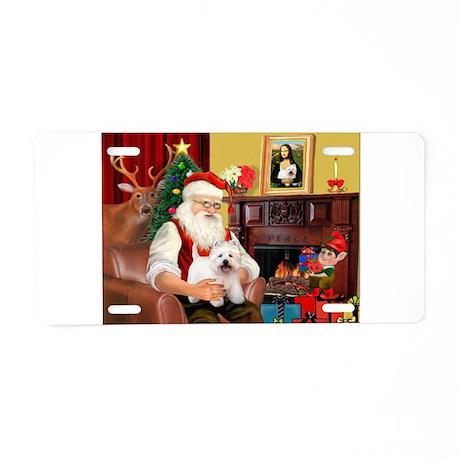 Santa's Westie Aluminum License Plate