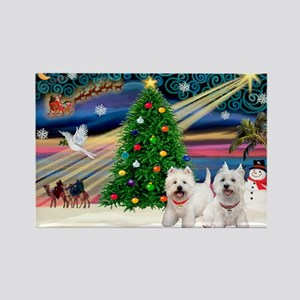 Xmas Magic & 2 Westies Rectangle Magnet