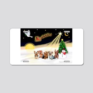Night Flight/5 Yorkies Aluminum License Plate
