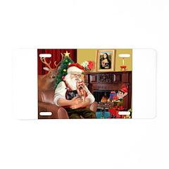 Santa / Yorkie (#9) Aluminum License Plate