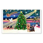 Xmas Magic & Yorkie Sticker (Rectangle 50 pk)