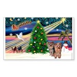 Xmas Magic & Yorkie Sticker (Rectangle 10 pk)