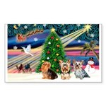 XmasMagic/3 Yorkies Sticker (Rectangle 50 pk)