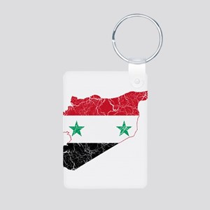 Syria Flag And Map Aluminum Photo Keychain