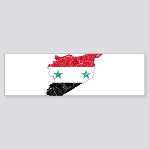 Syria Flag And Map Sticker (Bumper)