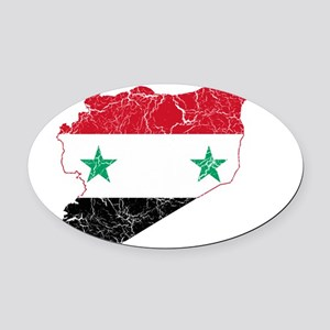 Syria Flag And Map Oval Car Magnet
