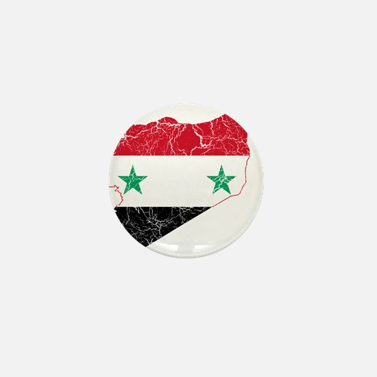 Syria Flag And Map Mini Button
