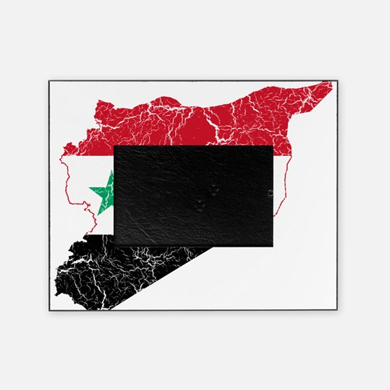 Syria Flag And Map Picture Frame