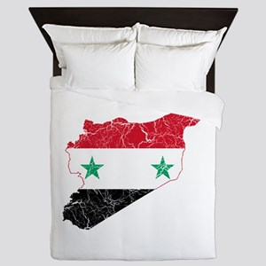 Syria Flag And Map Queen Duvet