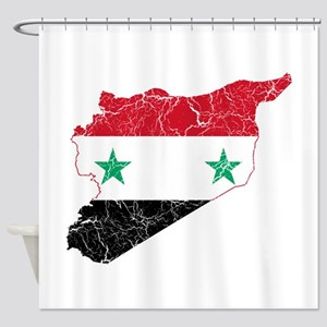 Syria Flag And Map Shower Curtain