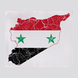 Syria Flag And Map Throw Blanket