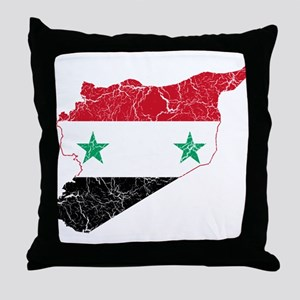 Syria Flag And Map Throw Pillow