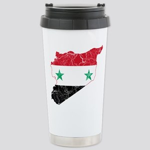 Syria Flag And Map Stainless Steel Travel Mug