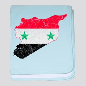 Syria Flag And Map baby blanket