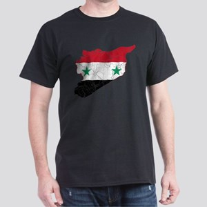 Syria Flag And Map Dark T-Shirt