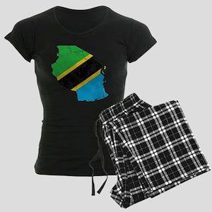 Tanzania Flag And Map Women's Dark Pajamas