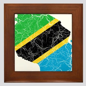 Tanzania Flag And Map Framed Tile