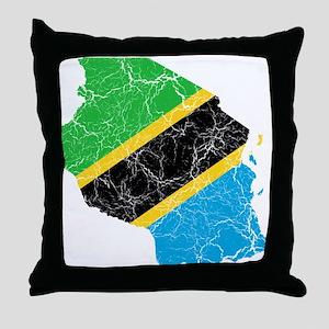 Tanzania Flag And Map Throw Pillow