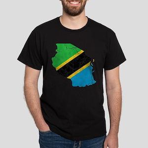 Tanzania Flag And Map Dark T-Shirt