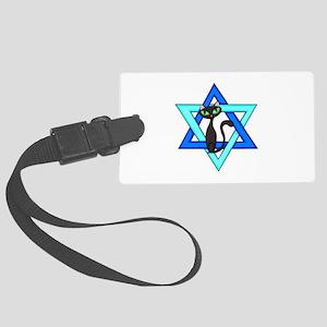 Jewish Cat Stars Large Luggage Tag