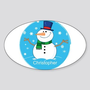 Cute Personalized Snowman Xmas gift Sticker (Oval)