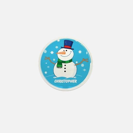 Cute Personalized Snowman Xmas gift Mini Button (1