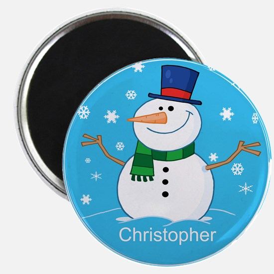 """Cute Personalized Snowman Xmas gift 2.25"""" Magnet ("""