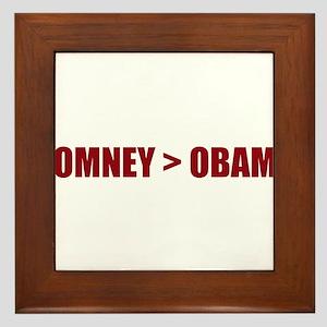 "Romney ""greater than"" Obama Framed Tile"