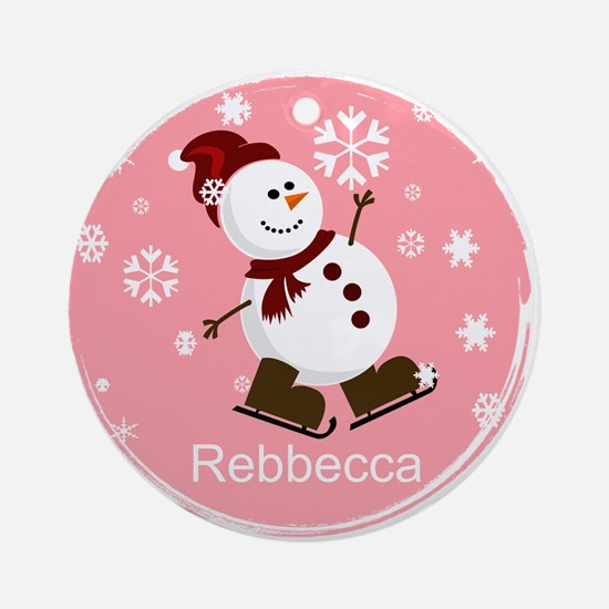Cute Personalized Snowman Xmas gift Ornament (Roun