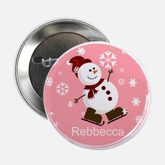 "Cute Personalized Snowman Xmas gift 2.25"" Button ("
